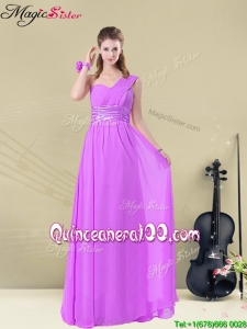 Cheap One Shoulder Bridesmaid Dresses with Ruching and Belt