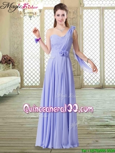 Cheap One Shoulder Floor Length Bridesmaid Dresses for Spring