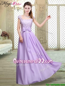 Cheap Square Cap Sleeves Lavender Bridesmaid Dresses with Belt