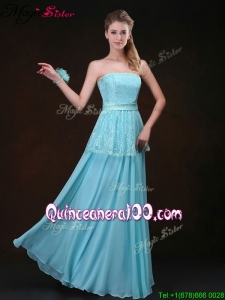 Cheap Strapless Floor Length Bridesmaid Dresses in Aqua Blue