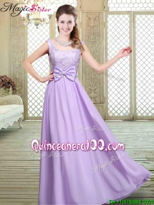 Pretty Scoop Bowknot Lavender Dama Dresses for Fall