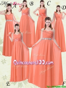 2016 Simple Empire Floor Length Dama Dresses for Quinceanera with Ruching and Belt