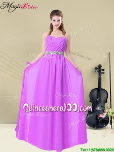 Elegant Sweetheart Floor Length Dama Dresses for Quinceanera with Ruching and Belt