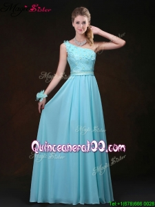 Inexpensive Empire One Shoulder Dama Dresses for Quinceanera with Appliques