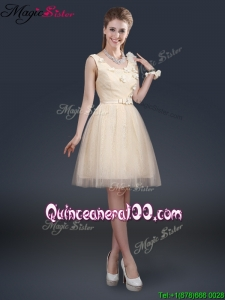 Lovely Scoop Dama Dresses for Quinceanera with Appliques and Belt