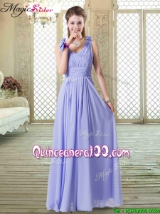 Romantic Empire Straps Dama Dresses for Quinceanera in Lavender