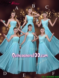 2016 Discount Empire Aqua Blue Bridesmaid Dresses