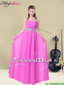 2016 New Style Empire Sweetheart Bridesmaid Dresses with Ruching and Belt