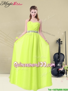 2016 Spring Discount Empire Sweetheart Belt Bridesmaid Dresses in Yellow Green