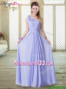 Discount Empire One Shoulder Bridesmaid Dresses in Lavender