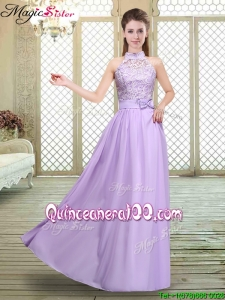 Discount High Neck Lace Lavender Bridesmaid Dresses