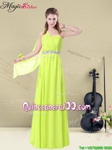 Discount One Shoulder Belt Bridesmaid Dresses in Yellow Green
