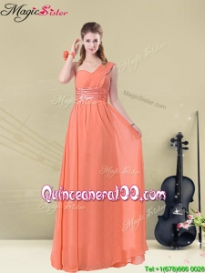Discount One Shoulder Floor Length Bridesmaid Dresses with Ruching and Belt