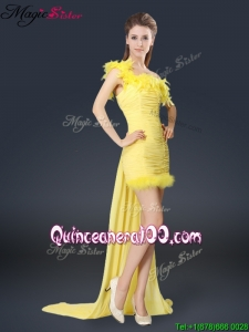 Discount One Shoulder Watteau Train Bridesmaid Dresses in Yellow