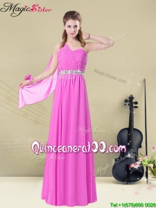 New Style Empire One Shoulder Bridesmaid Dresses with Belt