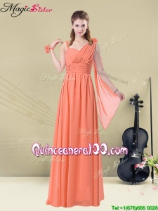 New Style Empire Straps Bridesmaid Dresses with Ruching and Belt