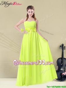 New Style Sweetheart Belt Bridesmaid Dresses in Yellow Green