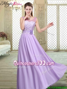 2016 New Style Scoop Lace Bridesmaid Dresses in Lavender
