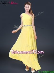 New Style One Shoulder Bridesmaid Dresses in Yellow