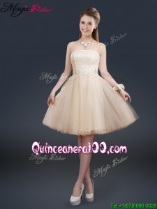 New Style Strapless Lace Champagne Bridesmaid Dresses