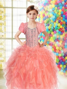 Watermelon Straps Elegant Little Girl Pageant Dress with Beading Ruffles for 2014