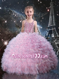 Fashionable Straps Little Girl Pageant Dress with Beading in Pink