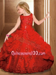 2014 Luxurious Scoop Red Little Girl Pageant Dresses with Beading
