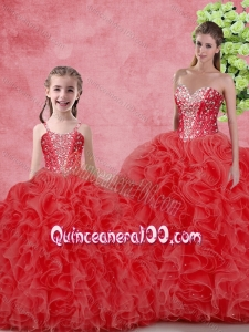 Wonderfu Floor Length Macthing Sister Dresses with Beading and Ruffles for Winter