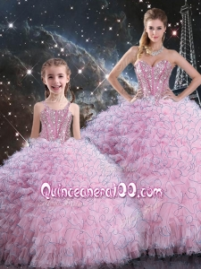2016 Beautiful Macthing Sister Dresses with Beading and Ruffles