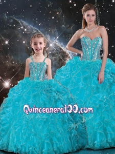 2016 Luxurious Ball Gown Macthing Sister Dresses with Beading in Baby Blue