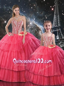 Fashionable Ball Gown Coral Red Macthing Sister Dresses with Beading for Fall
