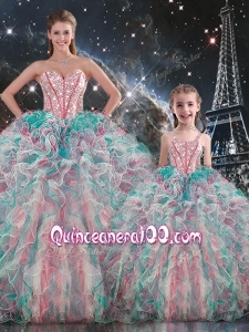 Fashionable Ball Gown Macthing Sister Dresses with Beading and Ruffles