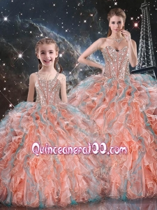 Gorgeous Ball Gown Macthing Sister Dresses with Beading and Ruffles for Fall