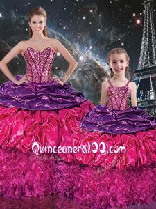 Gorgeous Sweetheart Macthing Sister Dresses with Ruffles and Pick Ups