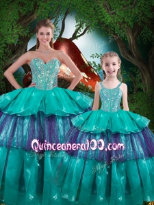 Hot Sale Ball Gown Macthing Sister Dresses with Ruffled Layers
