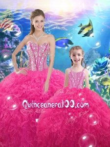 Lovely Ball Gown Macthing Sister Dresses with Beading and Ruffles for 2016