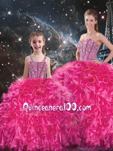 Luxurious Beading Macthing Sister Dresses in Hot Pink