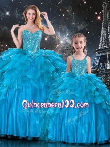 New Arrivals Sweetheart Macthing Sister Dresses with Beading in Teal