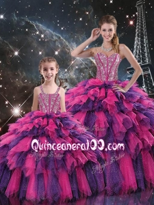 New Style Ball Gown Macthing Sister Dresses with Beading and Ruffled Layers for Fall
