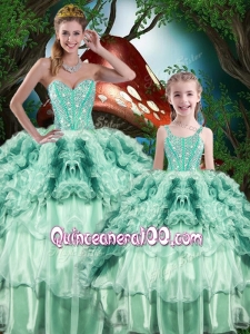 Pretty Ball Gown Macthing Sister Dress with Beading and Ruffles for 2016