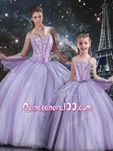 Sweet Ball Gown Beading Macthing Sister Dresses in Lavender