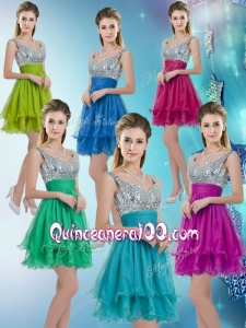 Pretty Straps Short Dama Dresses with Sequins for 2016 Fall