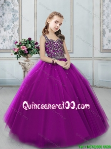 Latest Beaded Decorated Straps Eggplant Purple Flower Girl Dress
