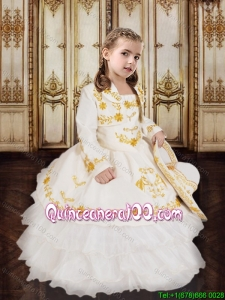 Country LifeStyle Embroideried White Flower Girl Dress in Organza and Taffeta