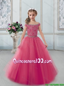 High End Cap Sleeves Tulle Flower Girl Dresss in Coral Red