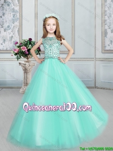 Modern See Through Apple Green Tulle Flower Girl Dress with Beading