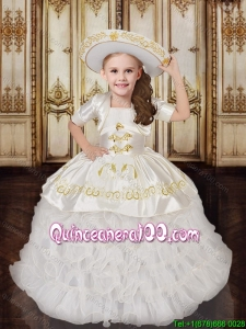 New Style Embroideried and Ruffled Layers Flower Girl Dress in White