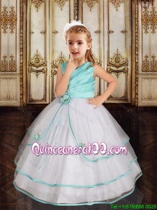 Perfect Hand Made Flowers V Neck Flower Girl Dress in White and Aqua Blue