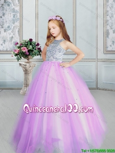 Top Seller Tulle Lilac Flower Girl Dress with Beaded Bodice