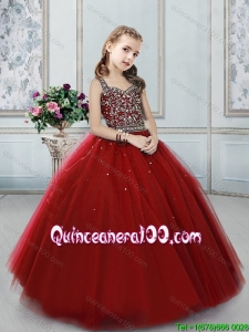 Exclusive Beaded Decorated Straps Little Girl Pageant Dress in Wine Red